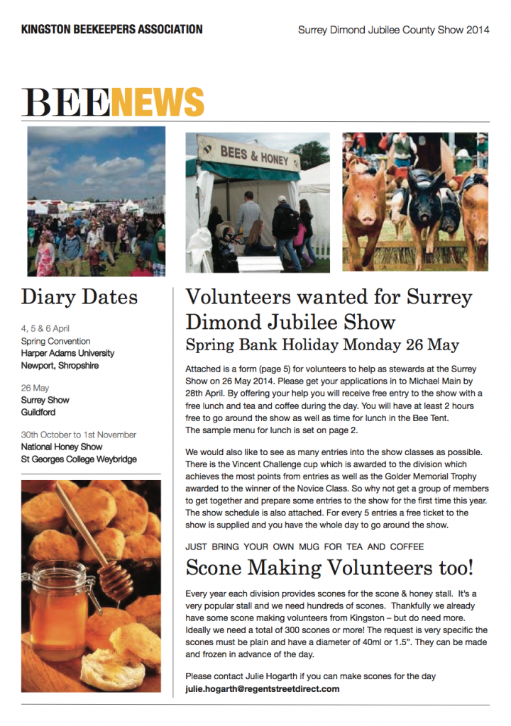 Bee News Surrey Show March 2014